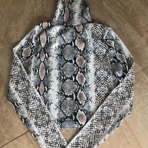 Snake Print Turtle Neck Crop Top